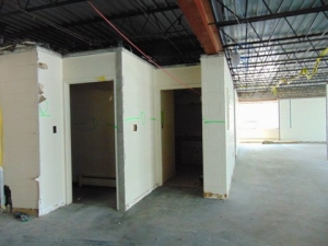 Narthex floor old bathroom doorways w/out display case wall